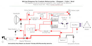 simple motorcycle wiring diagram for choppers and cafe racers Chrysler Sebring Wiring Harness Headlights at Z750s Headlight Wiring Harness