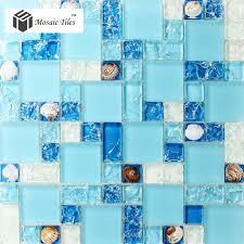tst glass conch tiles sea blue glass tile bathroom wall mirror deco mesh mosaic art kitchen