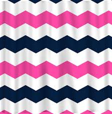 custom chevron shower curtain extra wide 6 inch stripes available any color shown hot pink navy and others