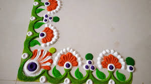 Side Rangoli Designs For Diwali 2018 Latest Independence Day Corner Side Rangoli Design Border Rangoli Design For Festivals