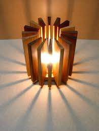 lamp made from wooden pieces