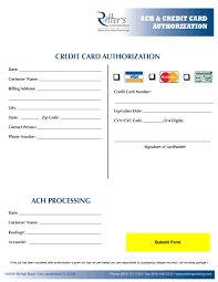 credit card authorization ritters communications ritters ach and credit card auth form