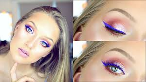 blue eyeliner pink tones summer night out makeup tutorial collab w biancablovesu