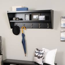 Black Wood Coat Rack Furniture Black Wooden Coat Rack With Shelf And Five Steel Hooks On 56