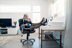 working for home office. Relaxed Woman Working From Home Office, Full Length With Copyspace. : Stock Photo For Office R