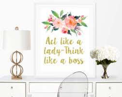 female office decor. act like a lady think boss wall art print printable 8x10 female office decor