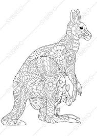 Small Picture Kangaroo Family Adult Coloring Book Page by ColoringPageExpress