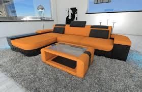 design fabric Sofa Boston L Shaped orange  Microfaser 16