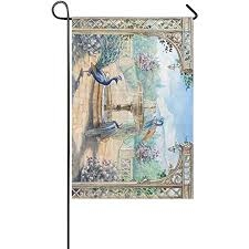 Starclevel Peacock Double Sided Polyester Garden Flag Banner 12 x 18 inch, Watercolor Fountain Birds Park Decorative Yard Party Home Outdoor Decor