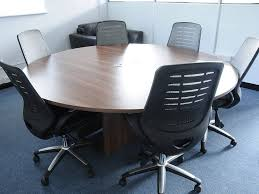 tcs round meeting table on arrowhead base