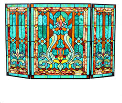 stained glass fleur de lis fireplace screen green fast