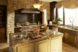 Kitchen Deco Cool Tuscan Kitchen Decor With Fireplace And Brick Wall Kitchen