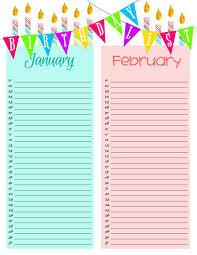 Primary Printables Birthday Lists Birthday Calendar
