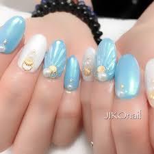 夏海ハンド人魚の鱗ミディアム Jikounailのネイルデザインno