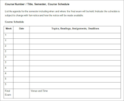 weekly syllabus template syllabus template free templates free premium templates