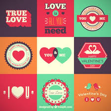 collection of retro valentines day labels free vector