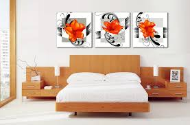 free shipping popular 3 pieces modern orange flowers wall art picture on canvas prints no frame in painting calligraphy from home garden on  on flower wall art prints with free shipping popular 3 pieces modern orange flowers wall art