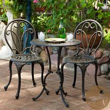 white cast iron patio furniture. Architecture And Interior: Minimalist Cool Cast Iron Bistro Table Chairs With Patio Set Of White Furniture