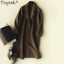 Tcyeek <b>Autumn Winter Coat Women</b> 100% Wool Coat Female Long ...