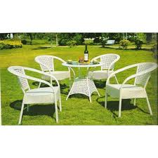 pe and rattan 4 pe rattan chair and 1 round table set