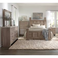 wood base bed furniture design cliff. Transitional Character With Its Bold Proportions Weathered Wood Finish And Cool Concrete Textured Tops Complete 6 Pieces Of Bedroom Furniture Base Bed Design Cliff N