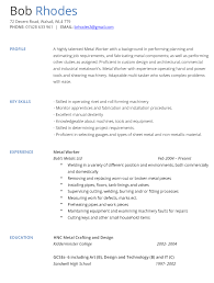 Metal Worker CV Example and Template