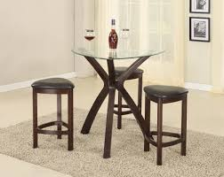 pub style dining room sets with round glass top dining table with wooden leg and triple leg stools with 3 leather seats plus white wall interior color decor
