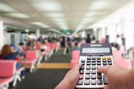 Travel Cost Calculator Travel Cost Calculation Concept By Calculator And Terminal