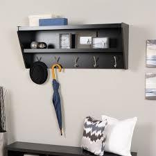 Floating Entryway Shelf Coat Rack Awesome Floating Entryway Shelf And Coat Rack In Black BUCW3232