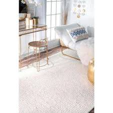 area rug chunky woolen cable off white 6 ft x 9 ft area rug
