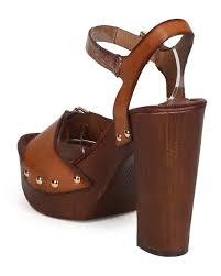 shoes nature breeze ec95 women metallic p toe studded wooden block heel clog sandal