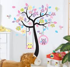 chic black family tree colorful flowers wall art mural sticker awesome ideas design