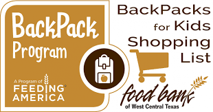 Backpack Shopping List | Food Bank Of West Central Texas