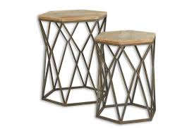 metal accent table. Pair Of Wood And Metal Accent Tables Table