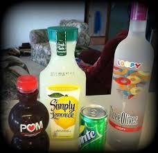 loopy lemonade ings two shots three olives loopy vodka 1 cup lemonade splash of pom wonderful