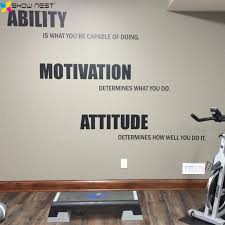 gym motivational quote wall decal vinyl stickers ability motivation attitude gym wall art decor fitness wallpaper mural in wall stickers from home  on motivational wall art for gym with gym motivational quote wall decal vinyl stickers ability motivation