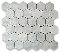 10 75 x11 875 carrara white hexagon mosaic tile honed