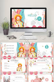 Pink Literary Flower Spring Hello Ppt Template Powerpoint