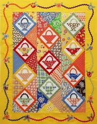Feedsack Quilting: History and Examples & Yellow Basket-Patterned Quilt Adamdwight.com