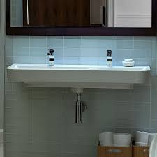 trough sink two faucets. Perfect Two Equility 47 Inch WallHung Trough Bathroom Sink Two Faucet Holes In Sink Faucets R