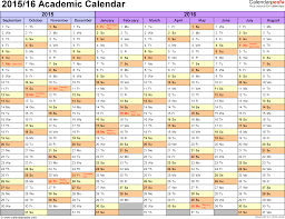 academic calendars as printable excel templates template 1 academic calendar 2015 16 for excel landscape orientation months horizontally