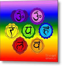 Yoga Reiki Seven Chakra Symbols On Rainbow Background Metal Print