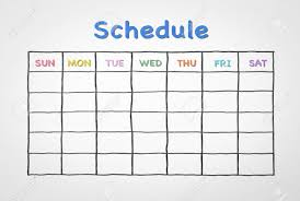 Blank Schedule Freehand Pen Doodle Sketch Drawing Of Blank Monthly Grid Timetable
