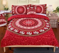 elephant duvet cover red elephant mandala print duvet cover sets bonus matching tapestry elephant duvet cover