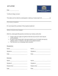 Gift For Letter Of Recommendation Sample Gift Letter Car Of Recommendation Family Member Template