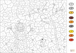 Small Picture Halloween Scene Color by Number Free Printable Coloring Pages