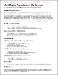 team leader cv examples call centre team leader cv sample myperfectcv