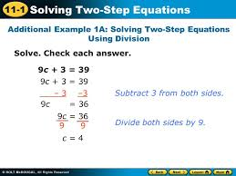 11 1 solving two step equations solve check each answer