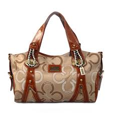 Coach Logo Monogram Medium Khaki Totes EJP