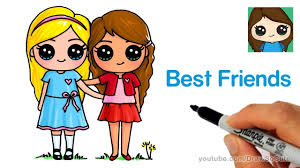 How To Draw Two Cute Girls Easy Best Friends Forever Youtube Cute